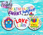 """Love To Learn"" 1"" Flat Back Buttons - 5pc"