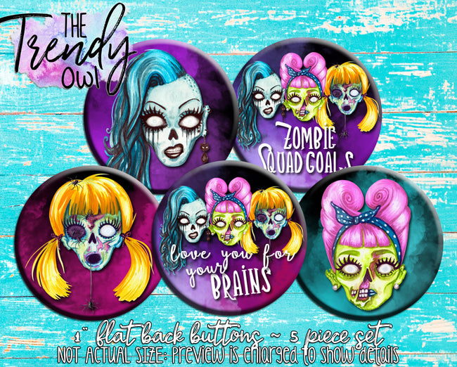 """Zombie Squad"" 1"" Flat Back Buttons - 5pc"