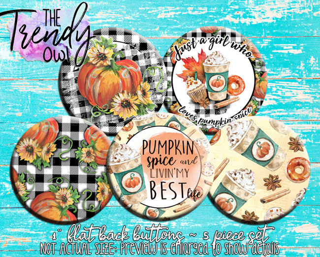 """Pumpkin Spice"" 1"" Flat Back Buttons - 5pc"