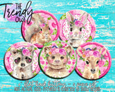 """Spring Floral Animals"" 1"" Flat Back Buttons - 5pc"