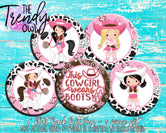 """Cowgirls"" 1"" Flat Back Buttons - 5pc"
