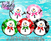 """Trendy Owl Snowmen SOLIDS"" 1"" Flat Back Buttons - 5pc"