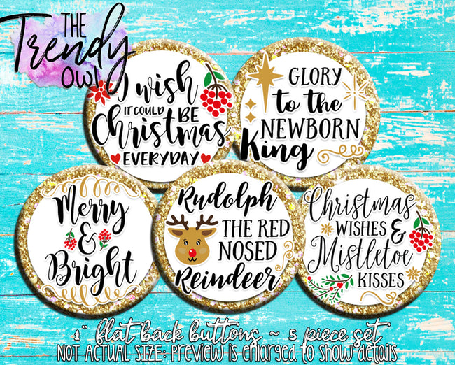 """Gold Glitter Christmas"" 1"" Flat Back Buttons - 5pc"