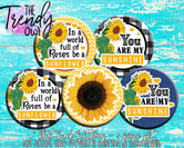 """You Are My Sunshine/Sunflower Inspired"" 1"" Flat Back Buttons - 5pc"
