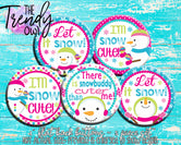 """Snow Cute"" 1"" Flat Back Buttons - 5pc"