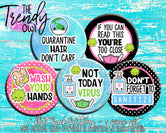 """Not Today Virus"" 1"" Flat Back Buttons - 5pc"