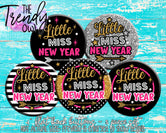 """Little Miss New Year"" 1"" Flat Back Buttons - 5pc"