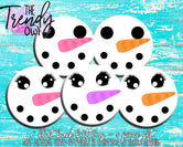 """Snow Faces"" 1"" Flat Back Buttons - 5pc"