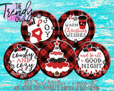"""Plaid Christmas"" 1"" Flat Back Buttons - 5pc"