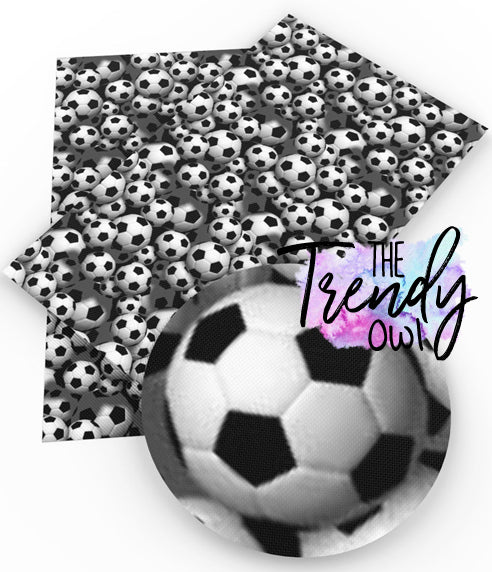 """Goal! Soccer"" - Faux Leather Printed Fabric Sheet"