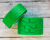 "7/8"" & 1.5"" Emerald Green Raised Glitter Doodles  - 5yd Roll"