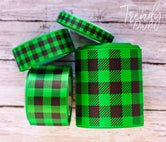 "3/8"", 7/8"", 1.5"", & 3"" Buffalo Plaid on Emerald Green  - 5yd Roll"