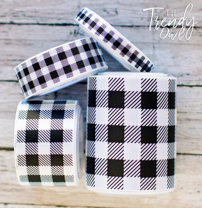 "3/8"", 7/8"", 1.5"", & 3"" Buffalo Plaid on White  - 5yd Roll"