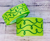 "7/8"" & 1.5"" Green Raised Glitter Doodles on Apple  - 5yd Roll"