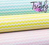 """Chevron"" Blue, Yellow, Pink - Faux Leather Printed Fabric Sheet"