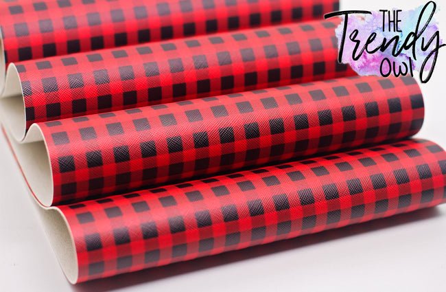 """Buffalo Plaid"" Red - Faux Leather Printed Fabric Sheet"