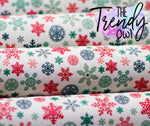 """Christmas Snowflakes"" - Faux Leather Printed Fabric Sheet"