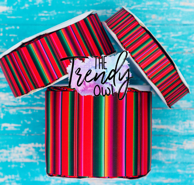 "7/8"", 1.5"" & 3"" Red Serape Print - Cinco De Mayo Inspired - Heat Transfer Printed - 3yd cuts"