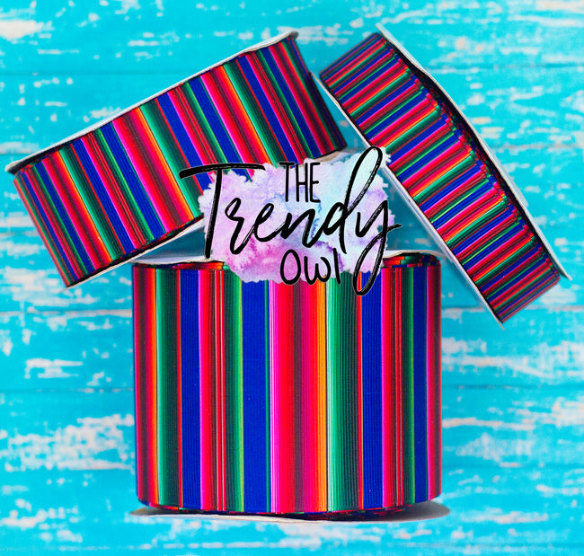 "7/8"", 1.5"" & 3"" Blue Serape Print - Cinco De Mayo Inspired - Heat Transfer Printed - 3yd cuts"