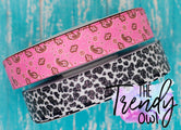 "7/8"" Glittered Pink Bandana & Cow Print - Heat Transfer Printed - 3yd cuts"
