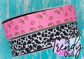 "7/8"" Pink Bandana & Cow Print - Heat Transfer Printed - 3yd cuts"