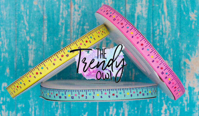 "3/8"" Back To School Rulers - CUSTOM COLORS - 3yd cuts"