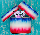 "7/8"", 1.5"", and 3"" Glittered Bomb Pop Ombre - Heat Transfer Printed - 3yd cuts"