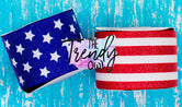 "3"" Glittered Stars & Stripes - Heat Transfer Printed - 3yd bundle"