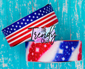 "1.5"" Glittered Patriotic Prints - 3yd cuts"