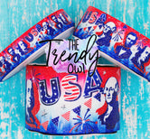 "7/8"", 1.5"", and 3"" Glittered USA Icons Print - Heat Transfer Printed - 3yd cuts"