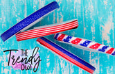 "3/8"" Glittered Patriotic Prints - Heat Transfer Printed - 3yd cuts"