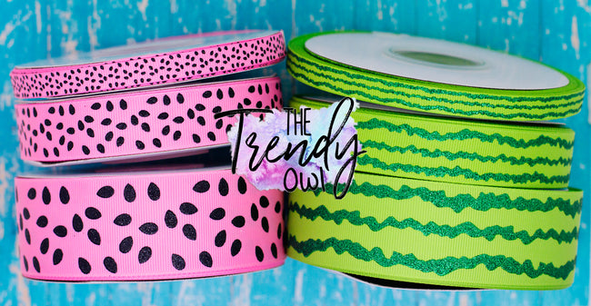 "3/8"", 7/8"" & 1.5"" Pink Watermelon Prints! - 3yd cuts"