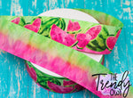 "7/8"", 1.5"", and 3"" Double Sided PINK Watercolor Watermelons - Heat Transfer Printed - 3yd cuts"