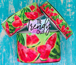 "7/8"", 1.5"", and 3"" Double Sided RED Watercolor Watermelons - Heat Transfer Printed - 3yd cuts"