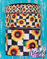 "7/8"", 1.5"", & 3"" GLITTERED Sunflowers on Checkered Print Heat Transfer - BY THE YARD"