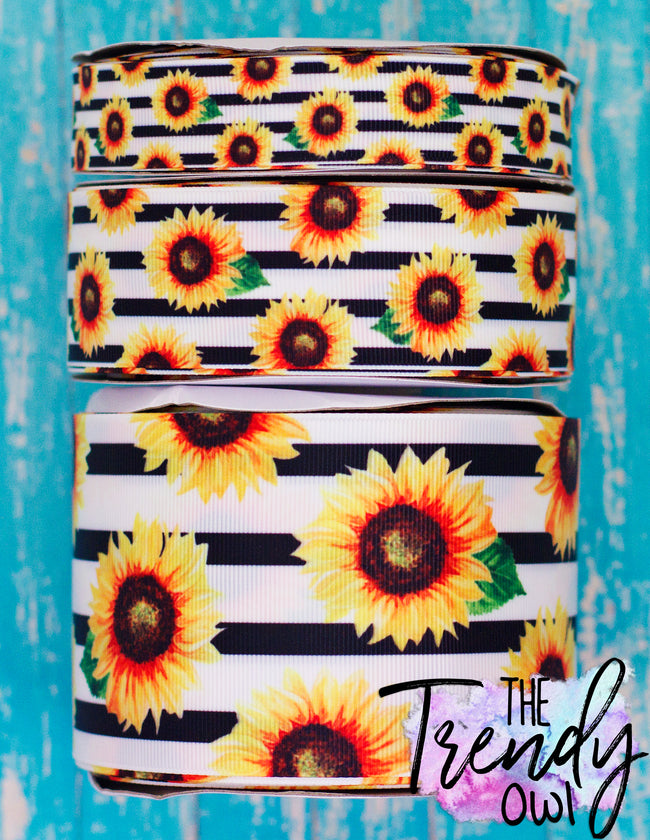 "7/8"", 1.5"", & 3"" Sunflowers on Black Stripes Heat Transfer - BY THE YARD"
