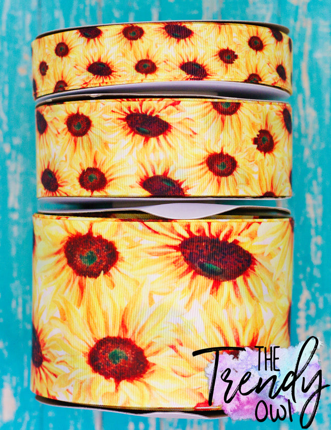 "7/8"", 1.5"", & 3"" Wild Sunflowers Heat Transfer - BY THE YARD"