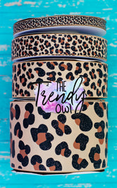 "3/8"", 7/8"", 1.5"", & 3"" Glittered Leopard Print! - BY THE YARD"