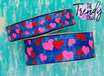"7/8"" & 1.5"" Glittered Pink & Red Hearts on Dark Denim Heat Transfer - BY THE YARD"