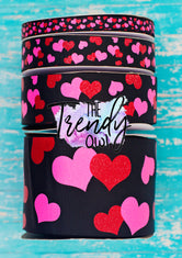 "3/8"", 7/8"", 1.5"", & 3"" Glittered Pink & Red Hearts on Black - BY THE YARD"