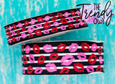 "7/8"" & 1.5"" Glittered Pink & Red Kisses on Black & White Stripes Heat Transfer - BY THE YARD"