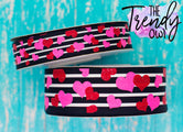 "7/8"" & 1.5"" Glittered Pink & Red Hearts on Black & White Stripes Heat Transfer - BY THE YARD"