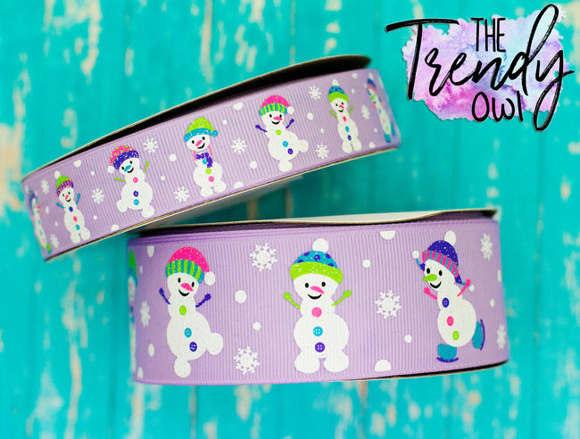 "7/8"" & 1.5"" Snowmen on Lavender- BY THE YARD"