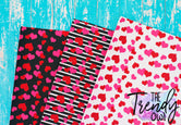 Hearts! - U.S. Designer Faux Leather Printed Fabric Sheets
