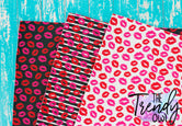 Kisses! - U.S. Designer Faux Leather Printed Fabric Sheets