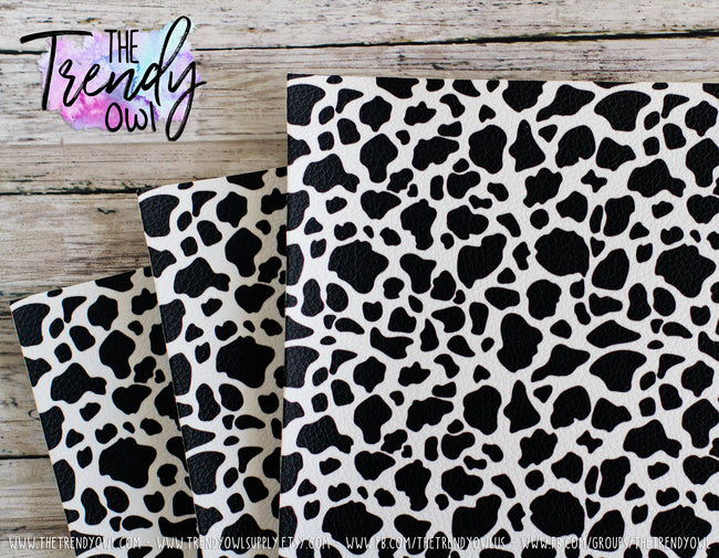 """Cow Print"" - U.S. Designer Litchi/Pebbled Faux Leather Printed Fabric Sheets"