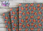 """Pumpkins on Buffalo Plaid"" - U.S. Designer Litchi/Pebbled Faux Leather Printed Fabric Sheets"