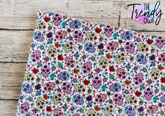 """Sugar Skulls White"" - U.S. Designer Litchi/Pebbled Faux Leather Printed Fabric Sheets"