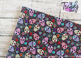 """Sugar Skulls Black"" - U.S. Designer Litchi/Pebbled Faux Leather Printed Fabric Sheets"