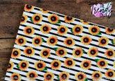 """Sunflowers on Black Stripes"" - U.S. Designer Litchi/Pebbled Faux Leather Printed Fabric Sheets"